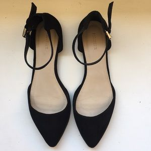 Black flats with ankle strap